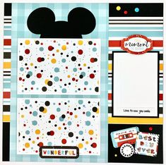 Disney-like Scrapbook Page Kit or Premade Disney Theme 6 image 2 Cruise Scrapbook, Album Scrapbook, Disney Scrapbook Pages, Scrapbook Sketches, Scrapbook Page Layouts, Scrapbook Paper, Scrapbook Templates, Scrapbook Journal, Wedding Scrapbook