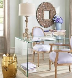 Lavender Office, clear acrylic desk - Love the girliness of this room... especially when you live in a house full of boys.
