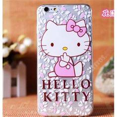 Carcasa trasparente Diseño divertido kitty rosa para tu móvil iPhone 6 Plus