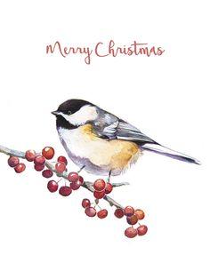 Chickadee Bird Christmas/Holiday Card by WildPaintings on Etsy