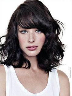 Side swept wavy hair - with bangs