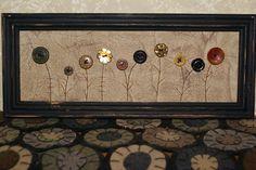 primitive folk art fall autumn flower button wall hanging stitchery. $8.00, via Etsy.