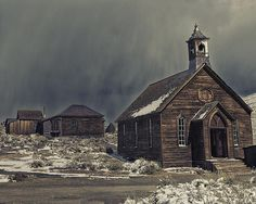 """Church in Bodie Ghost Town. Bodie is an original mining town from the late 1800's. What's left today stands in a state of """"arrested decay"""" and is maintained by the California State Parks System, who took over the town in 1962 to make it a State Historic Park."""