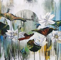 Lotus Flowers and Kingfishers.  Oil on Canvas.  1200mm x 1200mm  -Commisions are welcome- #isakandsuzanneartworks Canvas Paintings For Sale, Oil On Canvas, Large Painting, Kingfisher, Abstract, Lotus Flowers, Artwork, Collaboration, Image