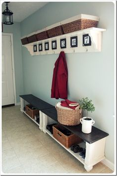 double bench, numbers mudroom
