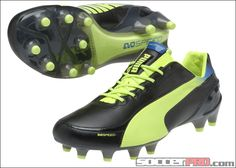 Puma evoSPEED 1.2 Leather FG Soccer Cleats - Black with Fluo  Yellow... 197.99 19e53ff5c2693