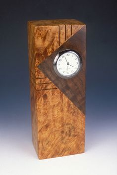 Howard Griffiths - Maple Burl & Walnut - Tower Desk Clock