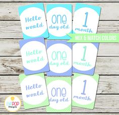 Baby Milestone Cards, Monthly, Photo Prop, First Year, Photo Signs, Print, Instant Digital Download, Boy, Blue, Green, Mint, Turquoise First Year Photos, Baby Milestone Cards, Monthly Photos, 1 Year Olds, Baby Milestones, Sign Printing, Old Ones, Boy Blue, Photo Props