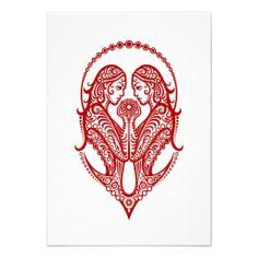 Intricate Red Gemini Zodiac on White Invitation