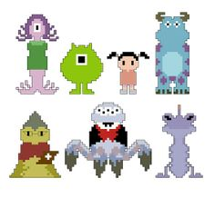 Monsters Inc. Pixel People Character PDF pattern by CheekySharkLabs