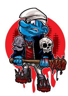 Zombie Killer Smurf by goatboybbma on DeviantArt Cartoon Crazy, Cartoon Pics, Cartoon Art, Cartoon Characters, Arte Dc Comics, War Comics, Juggalo Family, Zombies, Arte Nerd