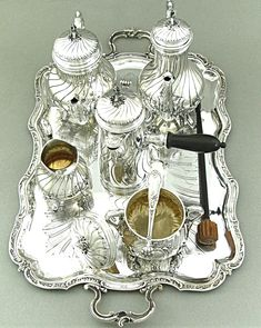 Antique French Sterling Silver Tea Coffee Chocolate Service Set 7pc by Emile Puiforcat
