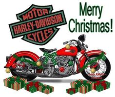 Merry Christmas Harley Davidson Quotes, Harley Davidson Wallpaper, Motos Harley Davidson, Motor Harley Davidson Cycles, Holiday Pictures, Christmas Images, Christmas Art, Christmas Humor, Christmas Greetings