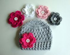 Baby Girl Hat, Baby Hat, Newborn Hat, Crochet Hat, Flower Hat In Light Gray, Photo Prop, Hat with 3 Flowers on Etsy, $17.99