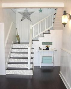 Stair Paneling, Vinyl Panels, Stair Stickers, Stair Risers, Peeling Paint, Adhesive Vinyl, Stairways, Wall Decals, Home And Family