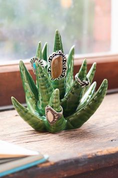 Green Succulent Ring Holder - Earthbound Trading Co.