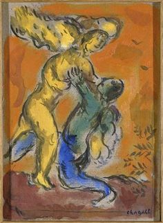 Jacob Wrestling with the Angel - Marc Chagall