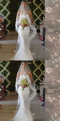 New Arrival Long Wedding Veil With Lace Flower For Wedding Party, WV0107#Wedding Veil#