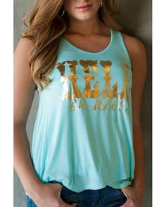 Rayon Knit Criss Cross tank in Mint green with gold metallic Hell on Heels print