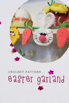 The garland with bunnies, chickens and carrots. Easter Crochet Patterns, Crochet Patterns Amigurumi, Crochet Dolls, Knitting Patterns, Handmade Toys, Etsy Handmade, Handmade Crafts, Handmade Ideas, Easter Garland
