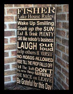 extra large lake house family rules subway sign  by kspeddler, $125.00