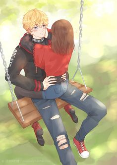 Anime Couples Art by 汪汪叫的獾 - Manga Couple, Anime Love Couple, Couple Cartoon, Art Love Couple, Anime Cupples, Anime Kiss, Anime Couples Drawings, Anime Couples Manga, Romantic Anime Couples