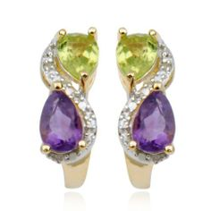 18k Gold Plated Sterling Silver Amethyst, Peridot and Diamond Accent J-Hoop Earrings Amazon Curated Collection. $29.00. Gemstones may have been treated to improve their appearance or durability and may require special care. Multi-gemstone. Made in China. Save 59% Off!