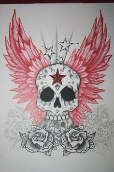 skool with wings and roses tattoo | Skull And Wings Tattoo Design by itchysack on deviantART