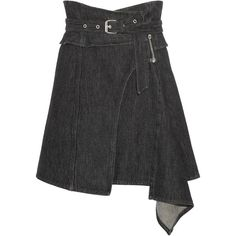 Isabel Marant Eydie asymmetric wrap-effect denim skirt ($385) ❤ liked on Polyvore featuring skirts, asymmetrical skirt, knee length denim skirt, draped asymmetrical skirt, draped wrap skirt and denim skirt