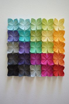 Origami Simple Flower Wall Art New Ideas Origami Design, Diy Origami, Origami Ball, Mobil Origami, Origami Quilt, Origami Simple, Origami And Kirigami, Useful Origami, Origami Tutorial