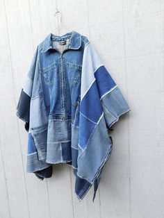 reserved for Pam * this upcycled denim poncho will be a fav in your closet for sure! made from around 5 pairs of upcycled jeans and a denim jacket! I added a patchwork heart to the back with safety pins... i can stitch it on if you rather or leave it off - its up