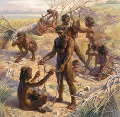 Chellean culture, which replaced the Olduvai -pre-Chellean- culture; Peter V. Bianchi - Chellean hunters at their campsite