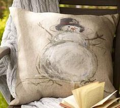 Painted Snowman Outdoor Pillow