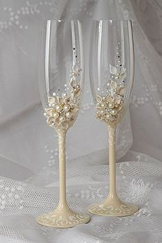 Handmade Wedding Glasses Champagne Flutes Wedding Table Decoration - Home Page Vintage Champagne Glasses, Wedding Toasting Glasses, Wedding Champagne Flutes, Decorated Wine Glasses, Painted Wine Glasses, Bride And Groom Glasses, Cristal Rose, Headpiece Jewelry, Card Box Wedding