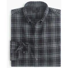 Tall Secret Wash shirt in heather black plaid (5.570 RUB) ❤ liked on Polyvore featuring tops, men tops/outerwear, j crew shirt, button down collar shirts, tall shirts, tartan shirt and classic fit shirt