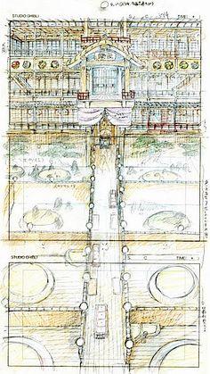 Film: Spirited Away (千と千尋の神隠し) ===== Layout Design - Scene: The Baths ===== Hayao Miyazaki