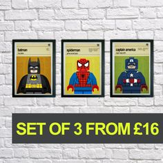 This is a stylish set of poster prints of the Lego Marvel Superheroes, fit to grace any man cave or childrens bedroom. Hand drawn with a graphics tablet and pen these prints are styled with typography and feature the actors who voiced the Lego Superheroes in the Marvel Superheroes game and the Lego Superhero abilities.   You can either purchase this artwork as prints or framed and ready to hang on the wall. To purchase these framed please see our other item on the link below…