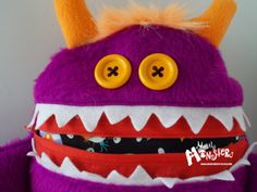 Cuddle Monster Pillow GREEP neon purple  by MostlyMonstersCV, $27.95