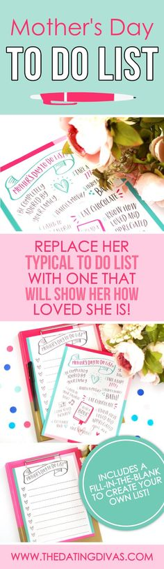 If you have been looking for a creative Mother's Day gift idea, look no further! This Mother's Day to-do list will make your mom feel loved, understood, and pampered! Just what she needs this Mother's Day! Diy Mothers Day Gifts, Mothers Day Quotes, Gifts For Dad, Mother Day Gifts, Diy Gifts, Creative Date Night Ideas, Creative Mother's Day Gifts, Creative Ideas, Date Night Ideas For Married Couples