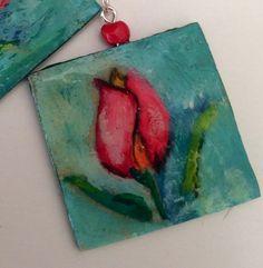 Pendientes turquesa con flor  pintado a mano con por Rominart, €4.00