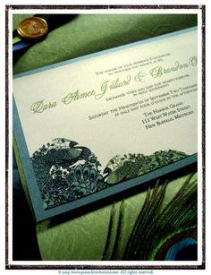 Peacock blue & olive invite