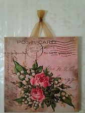 Vintage Shabby Pink Roses Postcard Wall Decor Sign Plaque French Country Chic