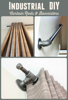 to create black iron pipe curtain rods. Sequel post to creating other industrial decor fixtures. Great step by step tutorial.How to create black iron pipe curtain rods. Sequel post to creating other industrial decor fixtures. Great step by step tutorial. Industrial Interior Design, Industrial House, Rustic Industrial, Industrial Office, Industrial Stairs, Industrial Windows, Industrial Lighting, Industrial Closet, Industrial Restaurant