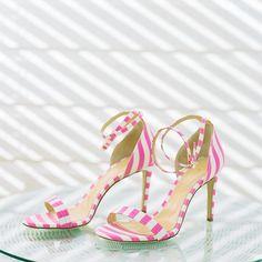 pink stripe high-heel bridal shoes Striped High Heels, Gasparilla Island, Cape Cod Wedding, Bridal Shoes, Wedding Shoes, Wedding Timeline, Island Weddings, Wedding Inspiration, Wedding Ideas