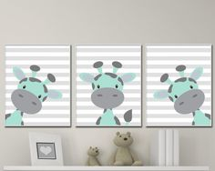 Giraffe Nursery Wall Prints Suits Mint and Gray Nursery Decor. Colors Customizable – unframed – - Baby Boy Names Baby Girl Names