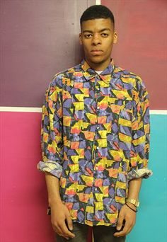 Vintage Abstract 90's patterened Shirt