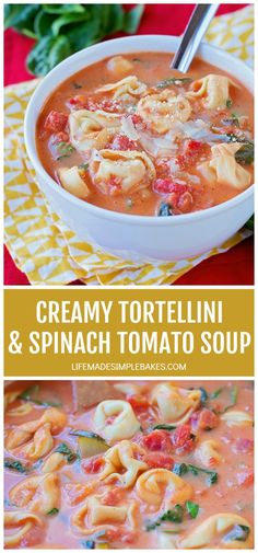 This 30-minute creamy tomato tortellini soup is flavorful and filling, packed with tomatoes, spinach, zucchini, and cheesy tortellini. Plus, it's incredibly easy to make! #soup #tortellini #tortellinisoup #30minutemeal #vegetables #onepot
