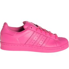 ADIDAS X PHARRELL WILLIAMS Superstar Supercolor Semi Solar Pink Flat... ($115) ❤ liked on Polyvore featuring shoes, sneakers, adidas, clothes - shoes, adidas sneakers, real leather shoes, leather shoes, pink sneakers and leather footwear