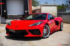 Red 2020 Chevrolet Corvette Stingray with mirror polished and ANRKY aftermarket wheels. Chevrolet Corvette Stingray, Chevrolet Camaro, Chevy, Red Camaro, Super Sport Cars, Super Cars, Corvette Wheels, Red Sports Car, Little Red Corvette