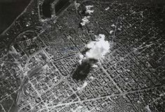 Barcelona airstrikes during the Civil War performed by Italian and German Aviation which dropped 44 tones of bombs on non-military targets causing a thousand deads and two thousand wounded.